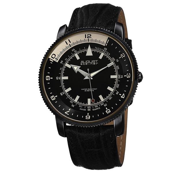 August Steiner Men's Swiss Quartz Tachymeter Leather Black Strap Watch