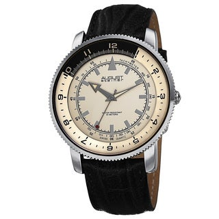 August Steiner Men's Swiss Quartz Tachymeter Leather Silver-Tone Strap Watch