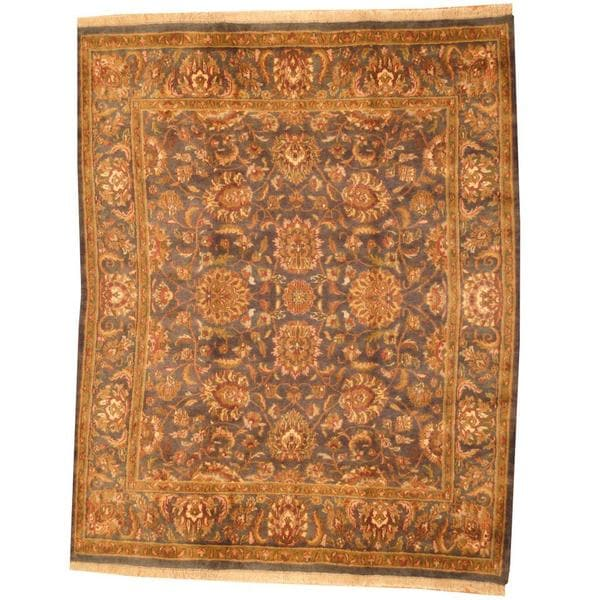 Herat Oriental Indo Hand-knotted Mahal Grey/ Green Wool Rug (8' x 10') - 8' x 10'