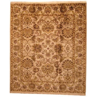 Herat Oriental Indo Hand-knotted Mahal Beige/ Green Wool Rug (8' x 10')