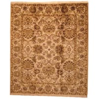 Herat Oriental Indo Hand-knotted Mahal Beige/ Green Wool Rug (8' x 10') - 8' x 10'