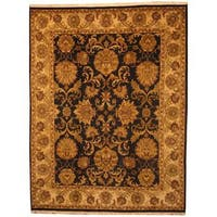 Herat Oriental Indo Hand-knotted Mahal Black/ Gold Wool Rug (8' x 10'6) - 8' x 10'6