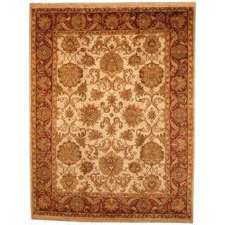 Herat Oriental Indo Hand-knotted Mahal Beige/ Red Wool Rug (8' x 10'6)