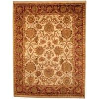 Handmade Herat Oriental Indo Mahal Beige/ Red Wool Rug (India) - 8' x 10'6