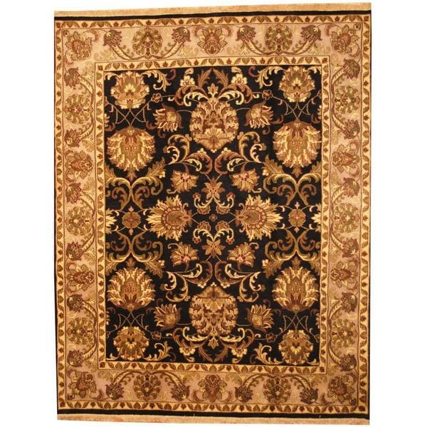 Herat Oriental Indo Hand-knotted Mahal Black/ Grey Wool Rug (8' x 10') - 8' x 10'