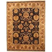Handmade Herat Oriental Indo Mahal Black/ Grey Wool Rug  - 8' x 10' (India)