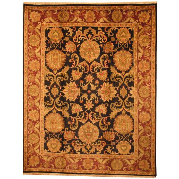 Herat Oriental Indo Hand-knotted Mahal Black/ Red Wool Rug (8' x 10') - 8' x 10'