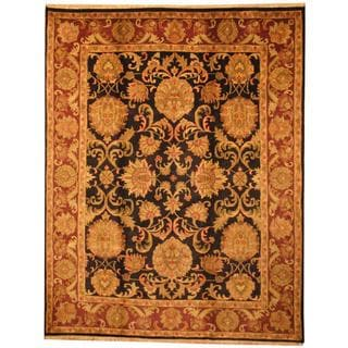 Herat Oriental Indo Hand-knotted Mahal Black/ Red Wool Rug (8' x 10')