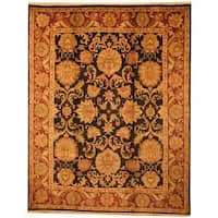 Handmade Herat Oriental Indo Mahal Black/ Red Wool Rug  - 8' x 10' (India)