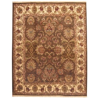 Herat Oriental Indo Hand-knotted Mahal Brown/ Beige Wool Rug (8' x 10')