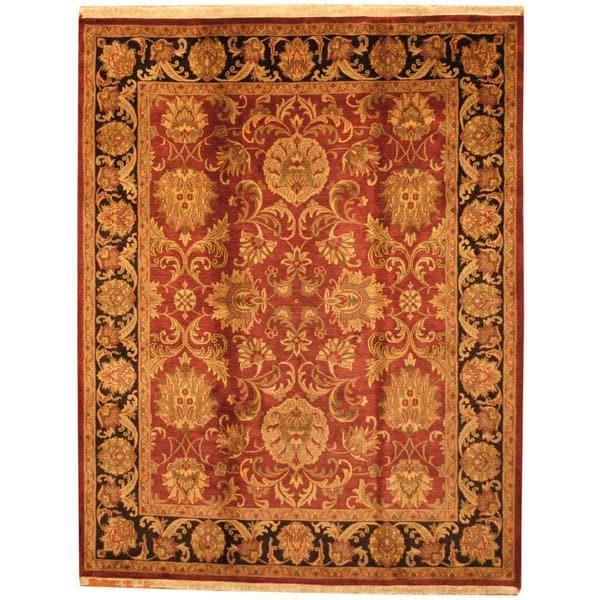 Handmade Herat Oriental Indo Mahal Maroon/ Black Wool Rug - 8' x 10' (India)
