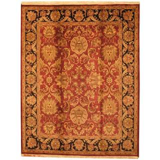 Herat Oriental Indo Hand-knotted Mahal Maroon/ Black Wool Rug (8' x 10')