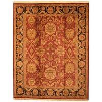 Herat Oriental Indo Hand-knotted Mahal Maroon/ Black Wool Rug (8' x 10') - 8' x 10'