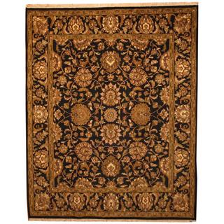 Herat Oriental Indo Hand-knotted Mahal Black/ Green Wool Rug (8' x 10')