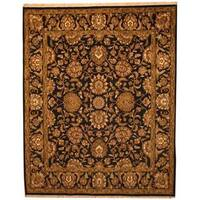 Herat Oriental Indo Hand-knotted Mahal Black/ Green Wool Rug (8' x 10') - 8' x 10'