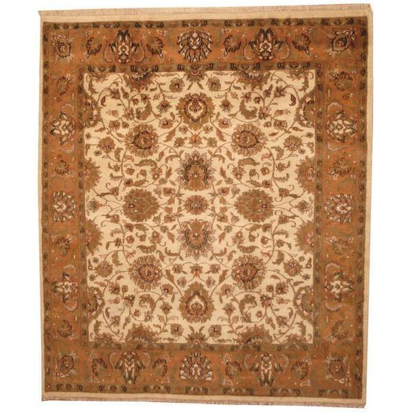 Handmade Herat Oriental Indo Mahal Beige/ Tan Wool Rug - 8'5 x 9'9 (India)