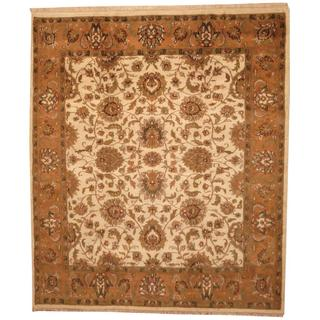 Herat Oriental Indo Hand-knotted Mahal Beige/ Tan Wool Rug (8'5 x 9'9)