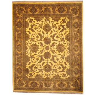 Herat Oriental Indo Hand-knotted Mahal Gold/ Brown Wool Rug (7'10 x 10')