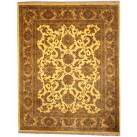 Herat Oriental Indo Hand-knotted Mahal Gold/ Brown Wool Rug - 7'10 x 10'
