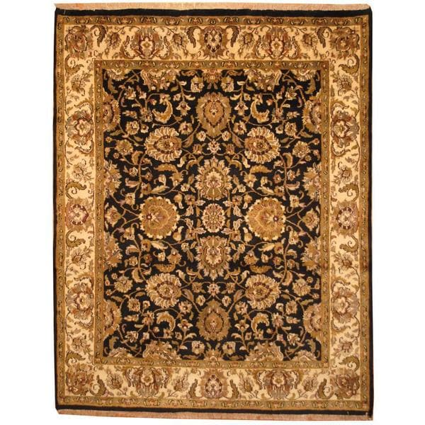 Herat Oriental Hand Tufted Wool Red Black Area Rug: Shop Handmade Herat Oriental Indo Mahal Black/ Beige Wool