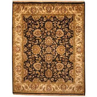 Herat Oriental Indo Hand-knotted Mahal Black/ Beige Wool Rug (7'9 x 9'10)