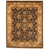 Herat Oriental Indo Hand-knotted Mahal Black/ Beige Wool Rug - 7'9 x 9'10