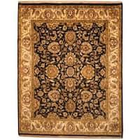 Herat Oriental Indo Hand-knotted Mahal Black/ Beige Wool Rug (7'9 x 9'10) - 7'9 x 9'10