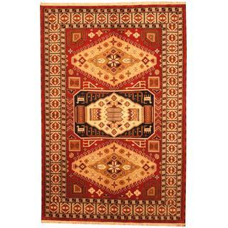 Herat Oriental Indo Hand-knotted Kazak Maroon/ Navy Wool Rug (6'6 x 9'9)