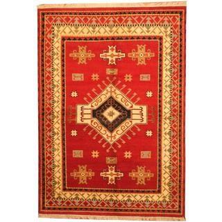 Herat Oriental Indo Hand-knotted Kazak Red/ Beige Wool Rug (6'1 x 8'7)