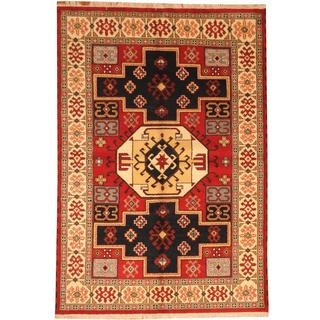 Herat Oriental Indo Hand-knotted Kazak Red/ Ivory Wool Rug (6'2 x 9')