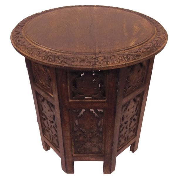 Shop celebration folding hand carved wood accent table