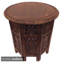 Celebration Folding Hand Carved Wood Accent Table
