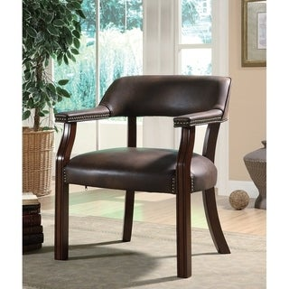 Mahogany Finish Brown Vinyl Guest Chair with Nailhead Trim