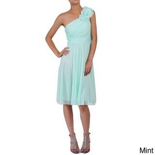 DFI Women's Floral Patch One-shoulder Short Dress