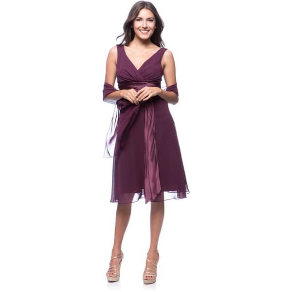 20918da76a03 Shop DFI Women's Chiffon Short Empire-waist Evening Gown - Free ...