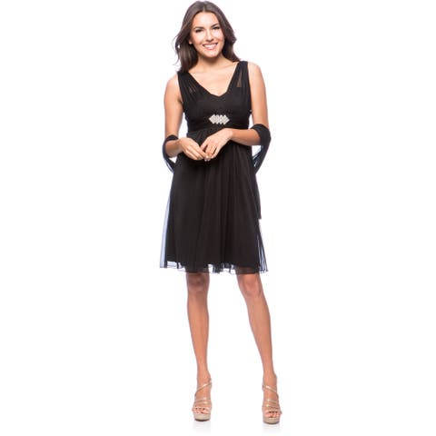 DFI Women's Short Evening Gown Dress with Rhinestone Broach