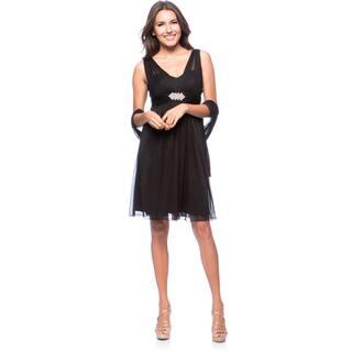 DFI Women's Short Evening Gown Dress with Rhinestone Broach|https://ak1.ostkcdn.com/images/products/9293788/P16456054.jpg?impolicy=medium