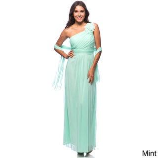 DFI Women's Floral Applique One-shoulder Evening Gown