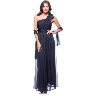 DFI Women's Floral Applique One-shoulder Evening Gown