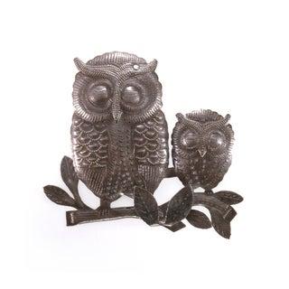 Handmade Steel Drum Owls on Branch Wall Art (Haiti)