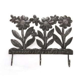 Handcrafted Recycled Steel Drum Daisies and Bees Triple Hook Wall Art (Haiti)