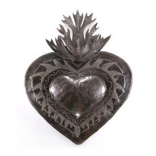 Handcrafted Recycled Steel Drum 3D Flaming Heart Wall Art , Handmade in Haiti