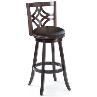 Black Cappuccino Wood 43 Inch Swivel Barstool 2 Piece