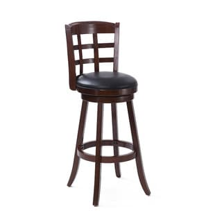 CorLiving Woodgrove Cappuccino and Black Bonded Leather Bar Height Barstool