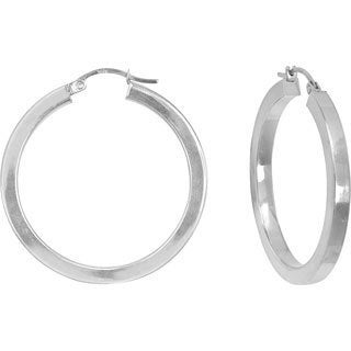 14k White Gold Polished Square Tube Hoop Earrings