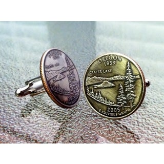 Handmade Pair of Oregon State Quarter Cufflinks Cuff Links