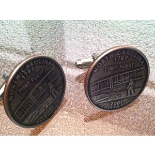 Handmade Pair of North Carolina State Quarter Cufflinks Cuff Links
