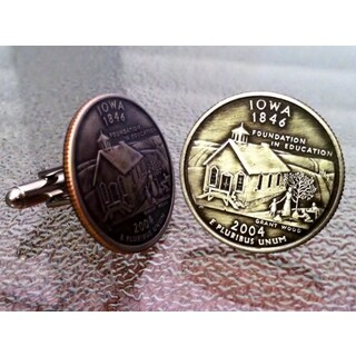 Handmade Pair of Iowa State Quarter Cufflinks