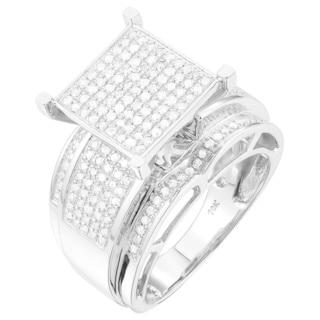 10K Gold 3/4 CT TDW Large White Diamond Ring