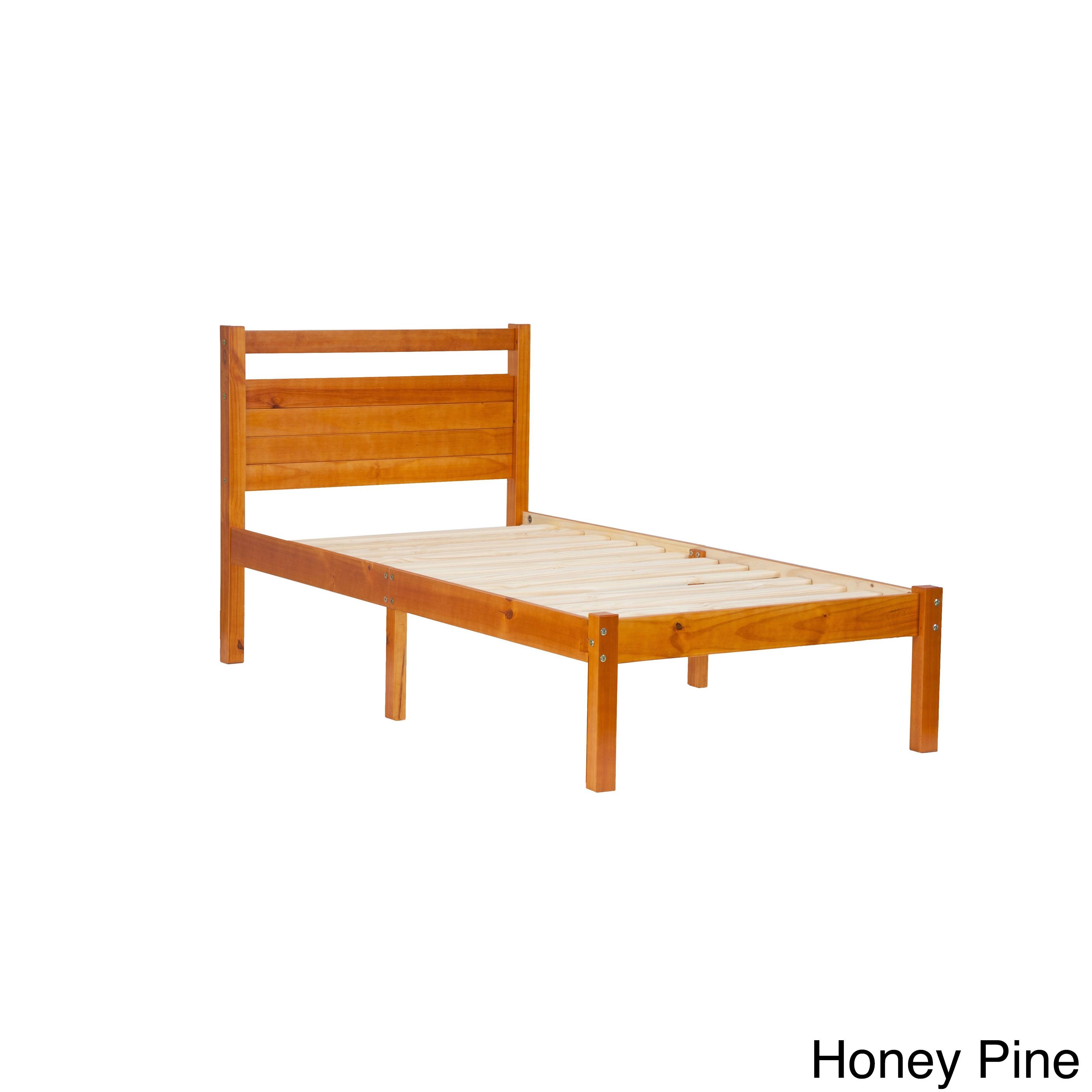 Bronx Pine Wood Twin-size Platform Bed (Honey Pine), Gold